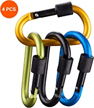 Carabiner Clip with Lock D Shape, Aluminum Carabiner Keychain Climbing Carabiner with 110 Lbs Load Capacity Durable Screw Gate Climbing Hooks for Outdoor Camping Fishing Hiking Traveling, 3.15