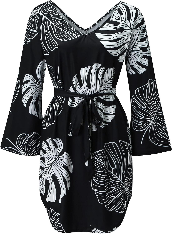 SoeHir Women's Ladies Contrast Color Long Sleeve Flowy Swing Shift Dresses Loose Printing Pocket Sweatshirt Dress