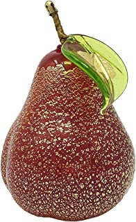 Murano Glass Blown Pear Red