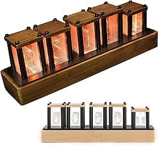 AACXRCR LED Nixie Clock、6つの表示モードでグローデジタルチューブクロック、1,600万色のNixieチューブクロック5レベルの明るさ調整、シンプルな組み立て、ハードメープル