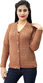 HAUTEMODA Women's Wool Buttoned Cardigan (Ad04Caz76Br_Brown)