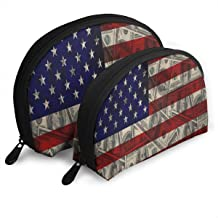 American Flag Dollars Business Finance Signs Customized Portable Bags Clutch Pouch Storage Bag Cosmetic Bag Purse Travel Storage Bag Shell Shape One Big and One Small For Women