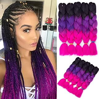 Jumbo Braiding Hair Crochet 5 Packs Jumbo Braid Hair Extension Ombre Color Kanekalon Synthetic Crochet Braids Hair Twist Braiding Hair (Black-Purple-Rose, 24 Inch)