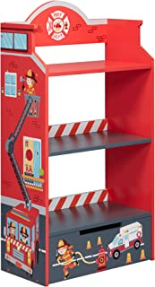 Fantasy Fields - Bibliothèque en Bois pour Enfants Petits Pompiers TD-12506A