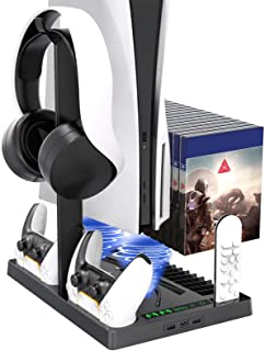 Vertical Stand with Headset Holder and Cooling Fan Base for PS5 Console & Playstation 5 Accessories, 1 Headphone Stand, 2 ...