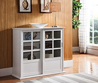 Kings Brand Furniture Holmes White Wood Curio Cabinet with Glass Sliding Doors
