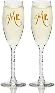 Mr. & Mr. Gay Couple Gold Champagne Flutes With Gift Box - His and His Same Sex Set - For Couples - Engagement, Wedding, Anniversary, House Warming, Host Gift
