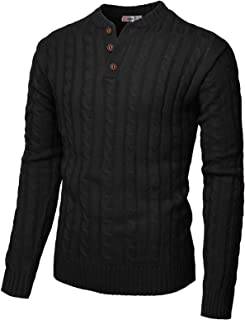 Mens Casual Slim Fit Pullover Sweaters Long Sleeve Cable Knitted Sweater with Button Closure