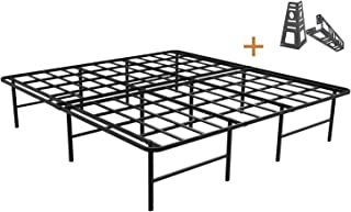 ZIYOO 16 Inch Platform Bed Frame Base, Mattress Foundation, Box Spring Replacement, Quiet Noise-Free, Headboard-Bracket Included, King