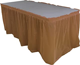 Exquisite Solid Color 14 Ft. Plastic Tablecloth Skirt, Disposable Plastic Tableskirts - Brown - 6 Count