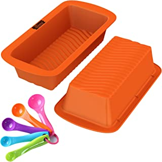 Loaf Pans - Set of 2-100% Pure Food Grade Nonstick Professional Silicone Bread and Cake Trays + Tablespoon Measuring Spoons Set