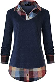 Women's Casual Collared Curved Hem 2 in 1 Pullover Tops Plaid Contrast Shirt Blouse