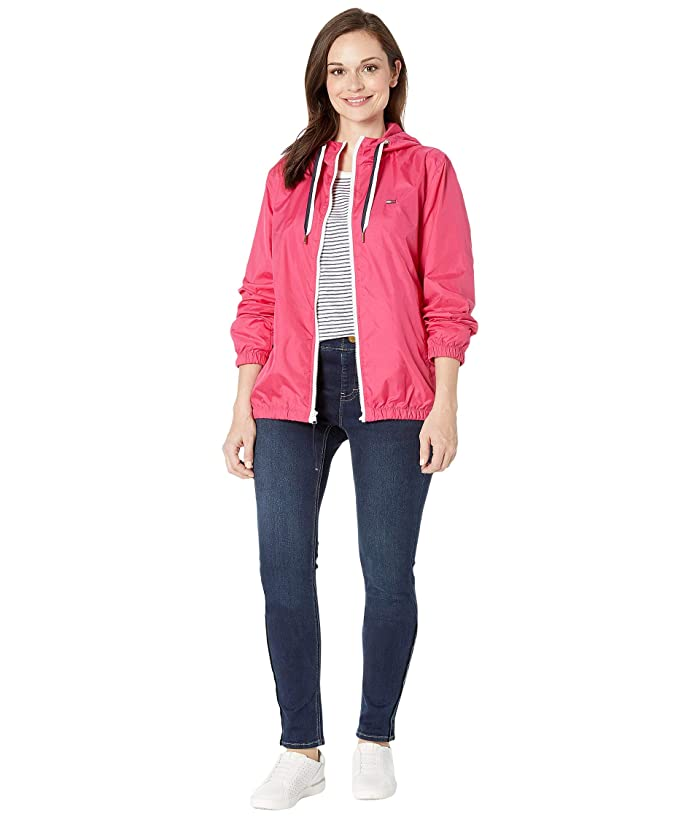 Tommy Hilfiger Adaptive  THD Nylon Jacket with Magnetic Zipper (Raspberry Sorbet) Womens Clothing