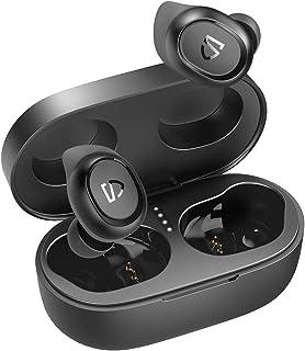 SoundPEATS Audifonos Inalámbricos Bluetooth5.0, TrueFree2 Audifonos Inalámbricos Tipo-C IPX7 Impermeables Sonido Estéreo 6 mm Bocinas Audifonos Deportivos ,Manos Libres, Micrófono Incorporado con Aletas personalizadas, 20 horas con Caja de Carga Portátil