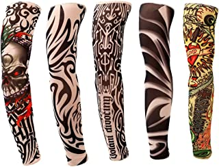 Looching 5 PCS New Nylon Elastic Fake Temporary Tattoo Sleeve Designs Body Arm Stockings Tatoo For Sport Skins Sun Protective