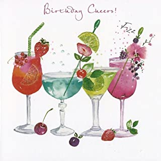 Greeting Card (NQ0263) Female Birthday - Cocktails - Birthday Cheers - Flittered Finish