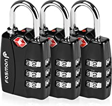 TSA Approved Luggage Locks Fosmon (3 Pack) Open Alert Indicator 3 Digit Combination Padlock Codes with Alloy Body for Travel Bag Suit Case Lockers Gym Bike Locks or Other