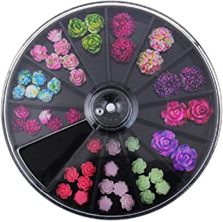 Nail Art,Putars Fashion 3D Rose Flower Nail Art Charm Beads Colorful Resin Nail Tips Manicure Wheel Multicolor (A)