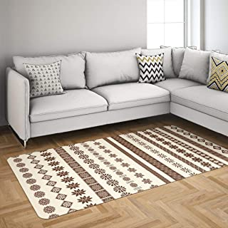 Henna Vector Gzoey Area Rugs,Indian Border Diwali Divider Eid Floral Motif Rugs for Living Room Badroom Area Rugs 5'x7' Carpet Indian Henna