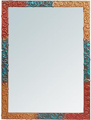 999Store Handmade Wooden Decorative Bathroom Mirror Multicolour Zigzag Lines