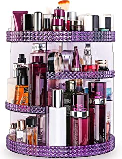 Famitree Rotating Makeup Organizer, Acrylic Clear Perfume Organizer, 7 Adjustable Layers Large Capacity Cosmetic Carousel, Fits Different Cosmetics and Toiletries for Vanity and Bathroom - Plus Size purple