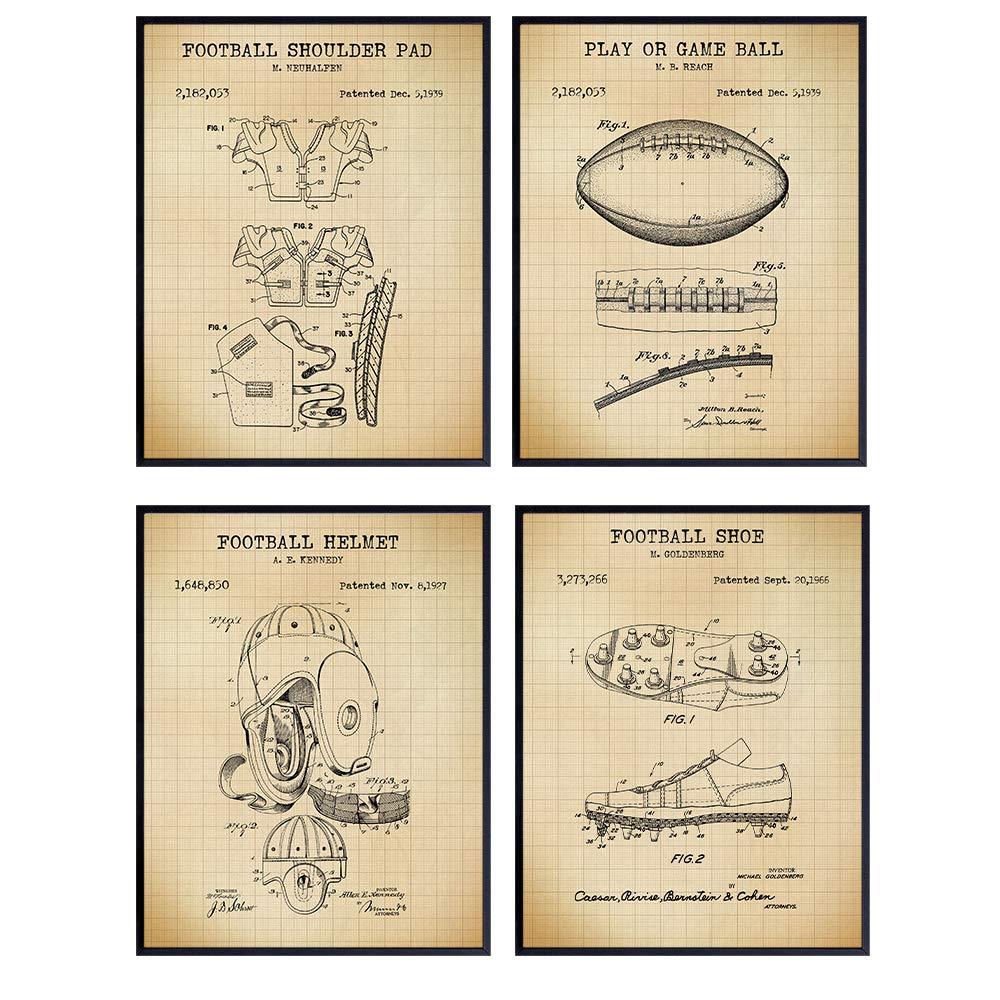 Football Patent Art Prints - Vintage 1 year warranty Poster Chic Minneapolis Mall Set Wall