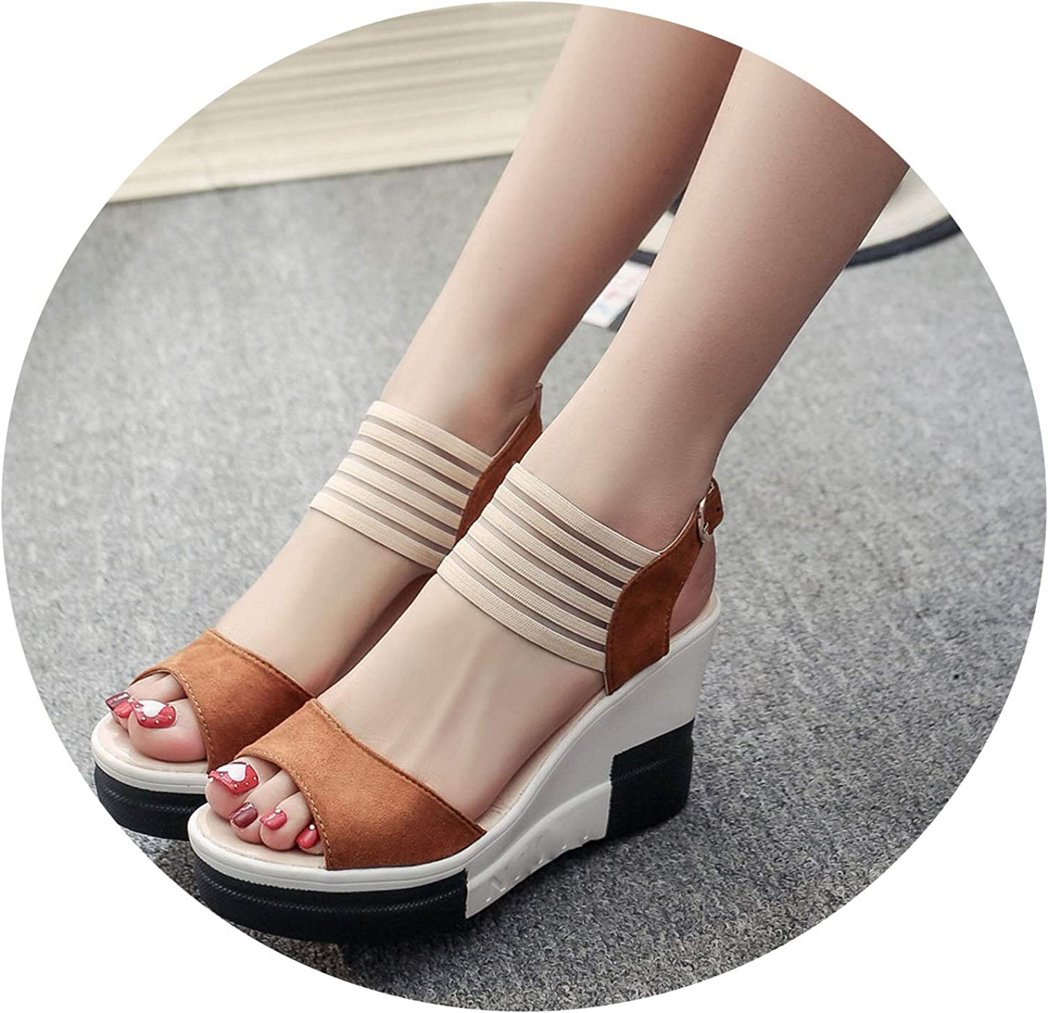 Zombie Jessica Wedge Women shoes Casual Belt Buckle High Heel shoes Fish Mouth Sandals Luxury Sandal