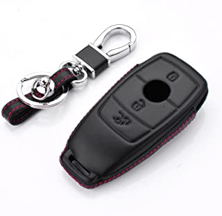 RoyalFox Genuine Leather 3 Buttons Key Fob case Cover for Mercedes Benz E-Class(2017-up) E300 E400 E63,S-Class(2018-up) S450 S550e S560 S63, Car Remote Pouch with Key Rings Keychain Holder Black