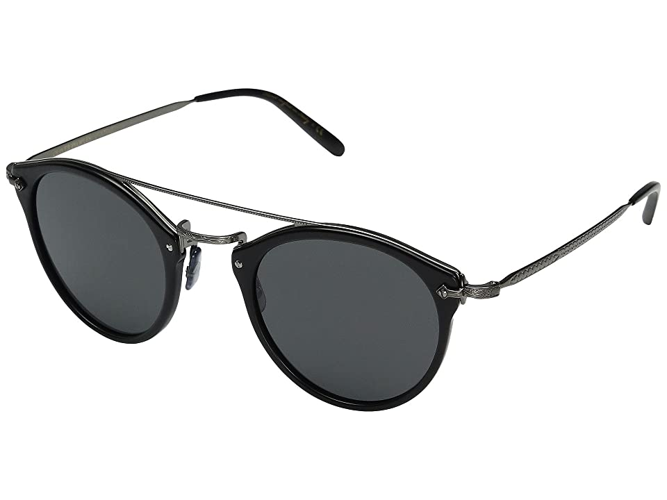 Oliver Peoples Remick (Semi-Matte Black/Antique Pewter/Grey) Fashion Sunglasses