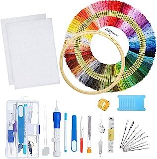 mengger Stickerei Set, Stickgarn Starter Embroidery Floss Kreuzstich Tool Kit Cross Stitch Einschließlich Stickrahmen 50 Farbfäden Sechs Fädechen Classic Reserve und Nadeln Set Stickerei
