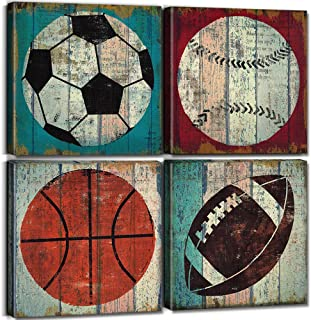 sunfrower Sports Decor for Boys Room Sports Wall Art Decor Soccer Ball Basketball Canvas Print Football Tennis Ball Baseball Poster Picture Modern Artwork Decoration 12 x 12 inch x 4pcs