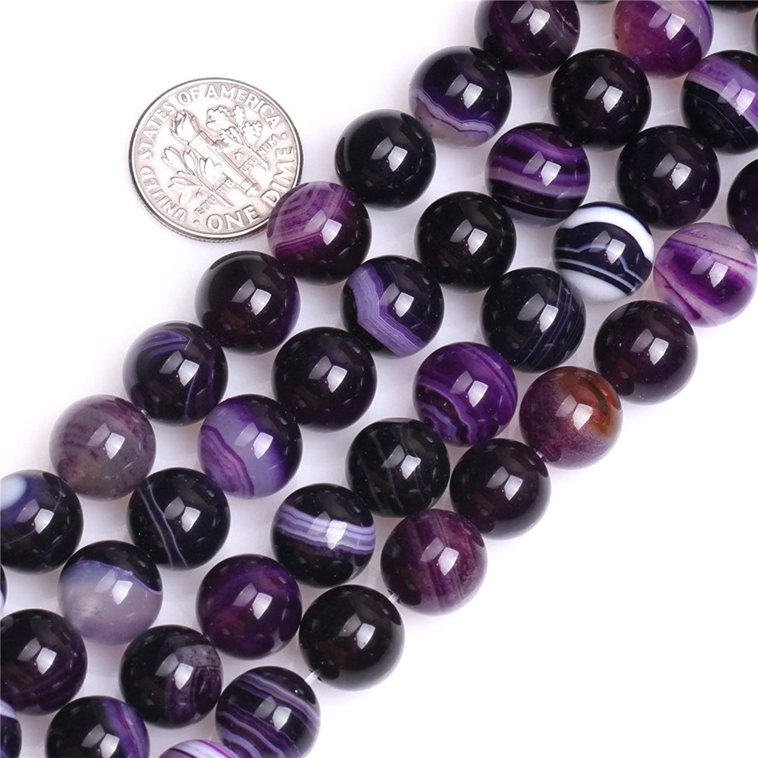 Stripe Purple Agate Beads for Jewelry Making Gemstone Semi Precious 10mm Round 15