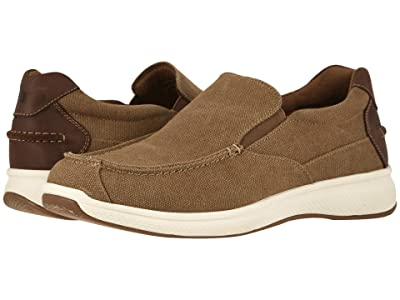 Florsheim Great Lakes Canvas Moc Toe Slip-On (Sand Canvas w/ Brown Crazy Horse) Men