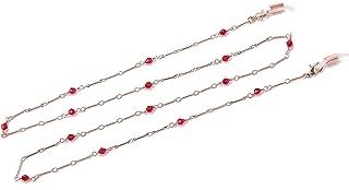 TEAMER Fashion Eyeglass Chain Red Bead Sunglass Eyeglass Strap Holder Reading Bohemian Glass Strap for Women Girls