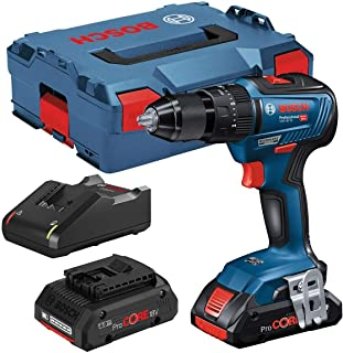 Bosch Professional 06019H5372 Bosch 18v GSB 18V-55 Brushless Combi Hammer Drill-2 x 4.0ah Procore Batteries, 18 V