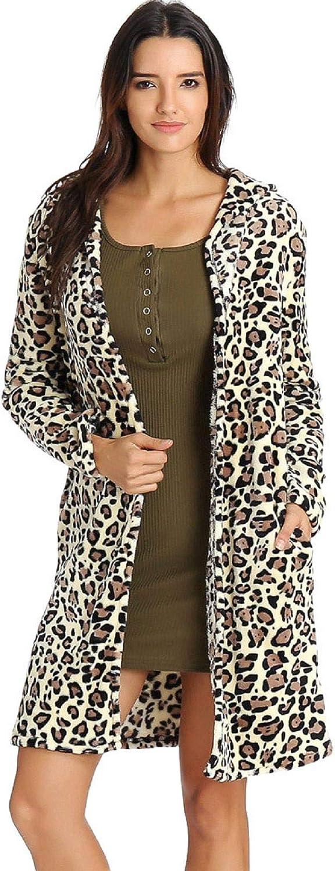 TOTOD Women Faux Fur Parka Jackets Coat Sexy Leopard Print Button Warm Fleece Fluffy Long Outerwear with Pockets