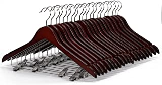 WALLER PAA 20 Pack Solid Walnut Finish Wooden Suit Hangers with Anti-rust Pant Clips
