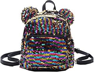 Wultia - Backpack Fashion Lady Cartoon Sequins School Backpack Travel Satchel Girls Student Panelled Zipper Backpack Mochila Yellow
