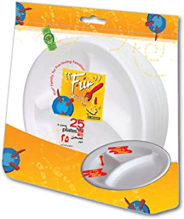 Fun® Everyday Disposable Thermocol Foam Plate with 3 compartment 10 inch, Pack of 25