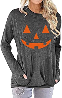Womens Halloween Pumpkin Long Sleeve Tops Jack O' Lantern Thanksgiving Thankful Pullover