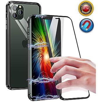 Coque iPhone 11 Pro MaxDouble face Verre trempé avec Protection confidentialitéTechnologie d'adsorption Magnétique métal Housse