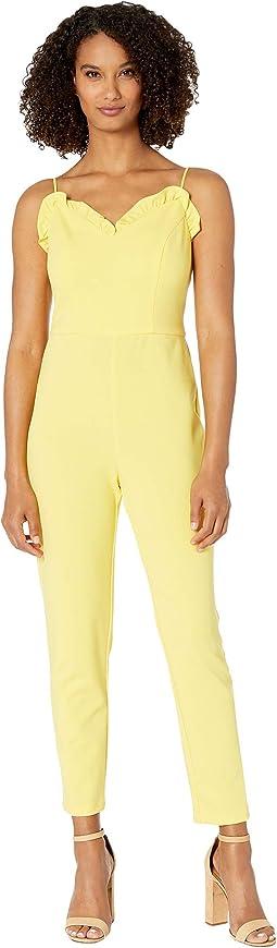 Micro Ruffled Crepe Slim Pant Jumpsuit