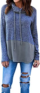Hibluco Women's Cowl Neck Long Sleeve Pullover Sweater Blouse Knit Tops