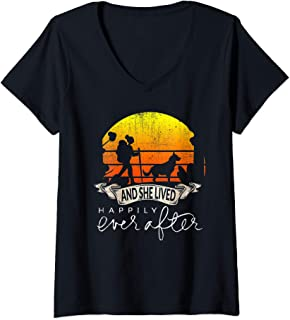 Womens She Lived Happily Ever After Camping Hiking Dog Lover Gift V-Neck T-Shirt