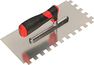KOTARBAU® Roestvrijstalen troffel 270 x 128 mm met tandwiel 12 x 12 mm tandtroffel voor het leggen van tegels gladschijf t...