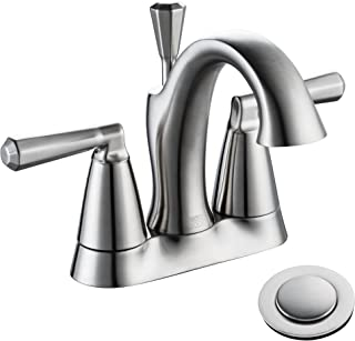 ENZO RODI Bathroom Faucet, Two-Handle 4-inch Centerset Bathroom Sink Faucet with Lift Pop Up Drain Assembly, Brushed Nickel,Certified by UPC,AB 1953 Lead-Free,NSF Standrard, ERF2305338AP-10