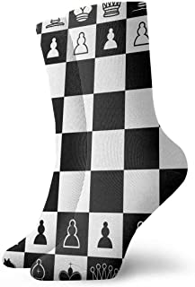 tyui7, Calcetines de compresión de ajedrez cuadrados blancos y negros Ajedrez antideslizante Calcetines deportivos acogedores de 30 cm para hombres, mujeres, niños