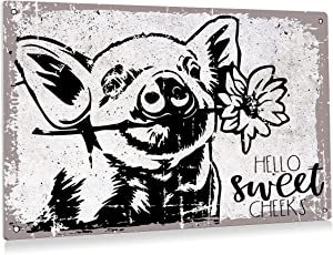 BEASTZHENG Funny Hello Sweet Cheeks Pig Flower Bathroom Metal Tin Sign Wall Decor Vintage Bathroom Sign for Toilet Restroom Washroom Decor Gifts