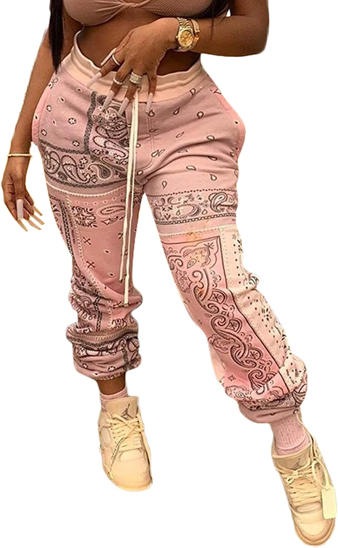 Vaceky Womens Floral Print Boho Yoga Pants High Waist Drawstring Workout Jogger Lounge Sweatpants Winter