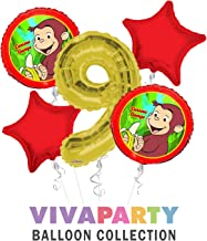 Curious George Balloon Bouquet 5 pc, 9th Birthday, | Viva Party Balloon Collection
